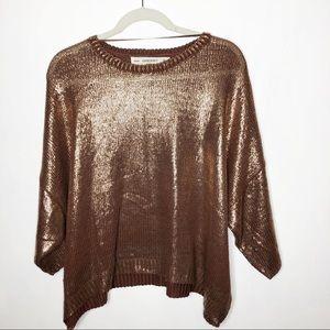 Zara knit rose gold metallic sweater